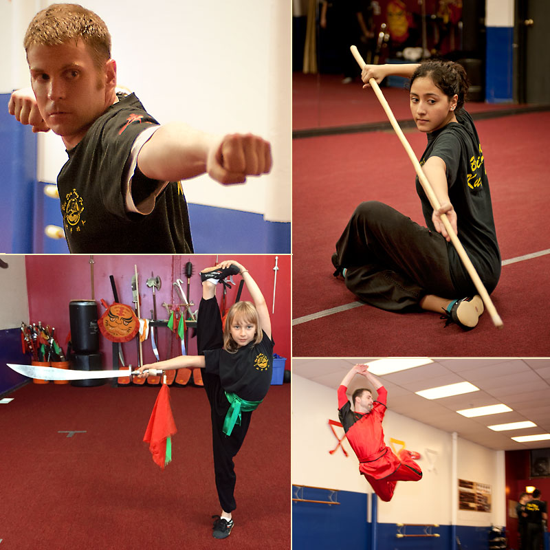 Collage of students practicing Kung Fu