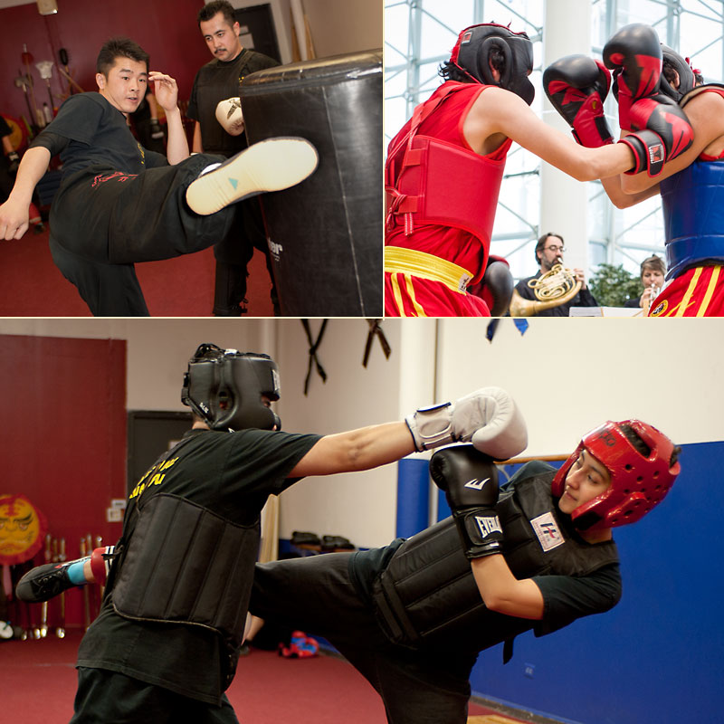 Collage of students practicing Sanshou Self-Defense