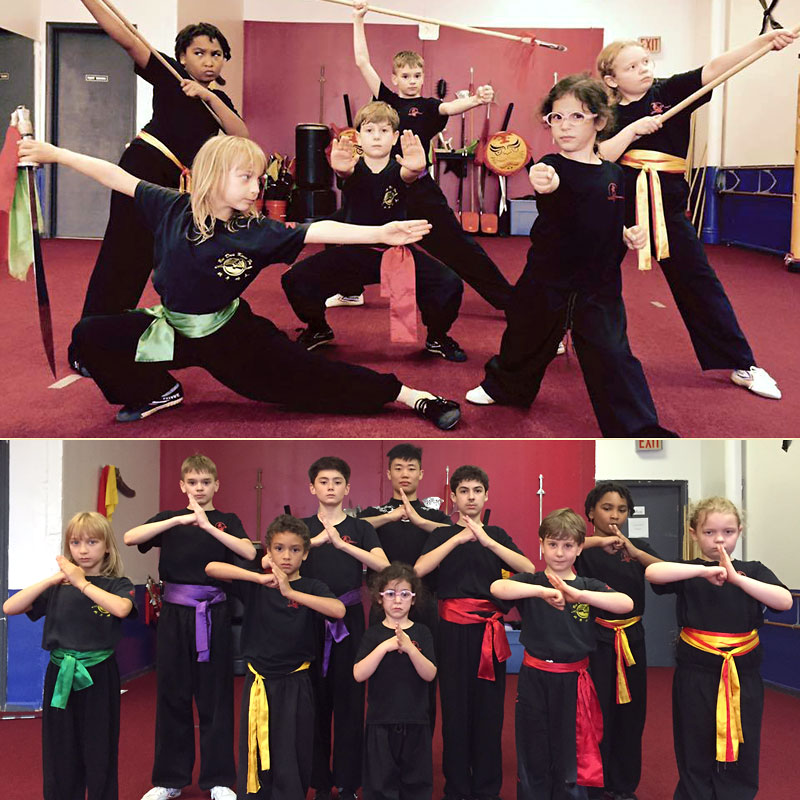 Collage of students at our Kung Fu Summer Camp