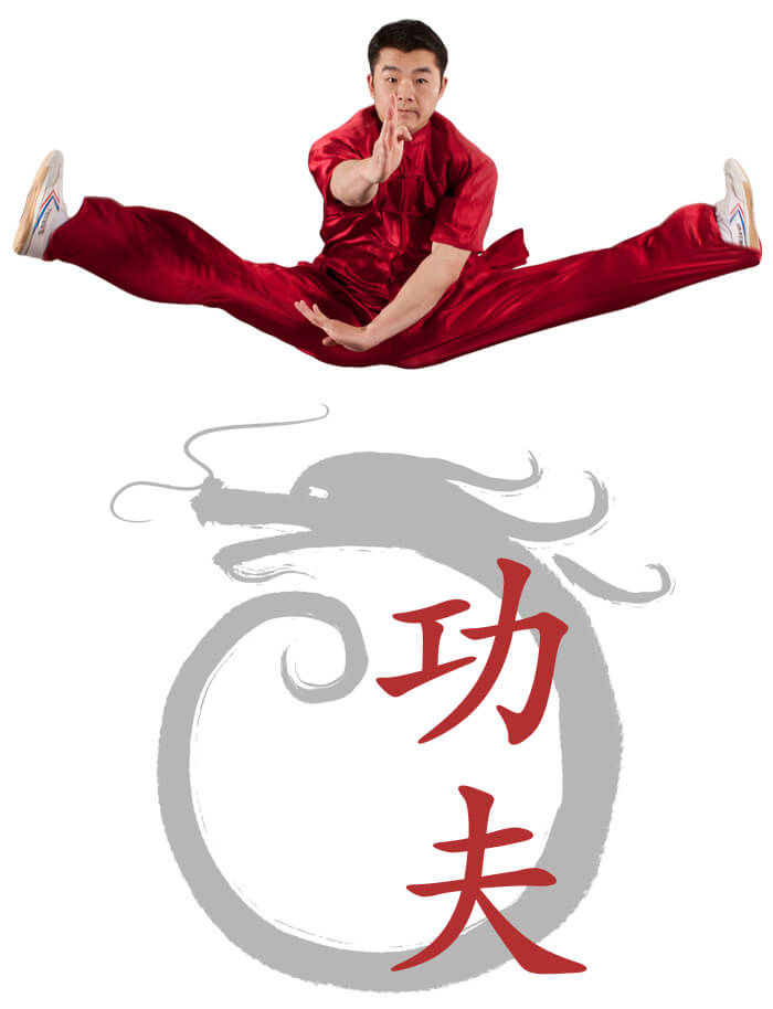 Photo of Master JingChao Wu demonstrating a Wushu Jump