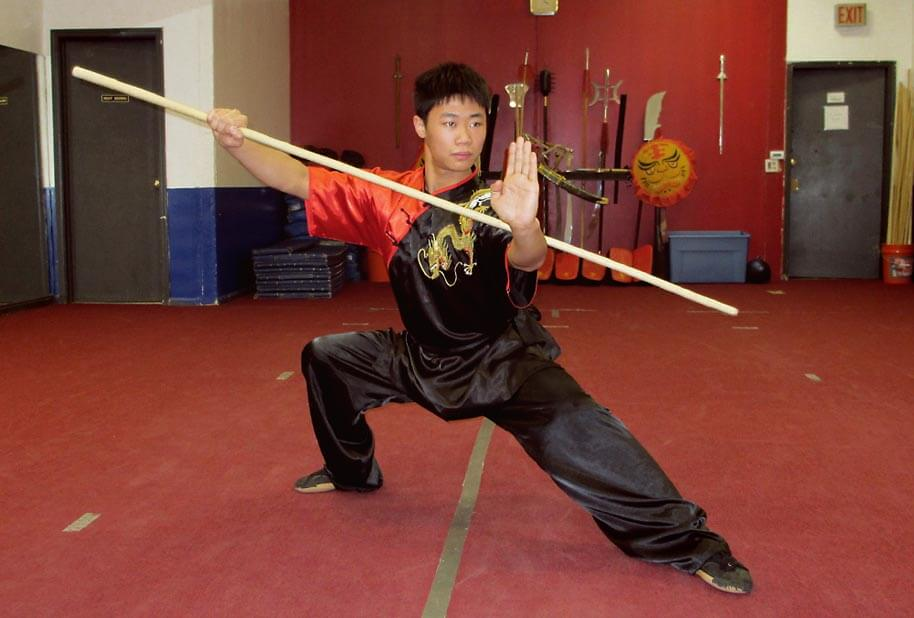 Photo of Shifu Wang with a Spear
